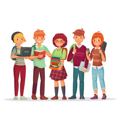 Teenagers students group young teens highschool vector