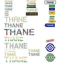 Thane text design set vector