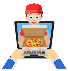 the courier keeps the pizza straight from the vector image