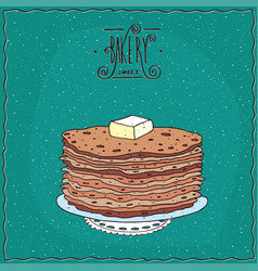 Thin pancakes with slice of butter on lacy napkin vector
