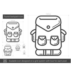 Tourist backpack line icon vector