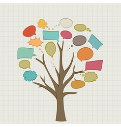 Tree with call outs on paper vector