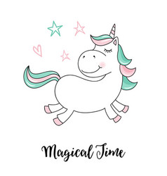 Unicorn magical time unicorn quote vector