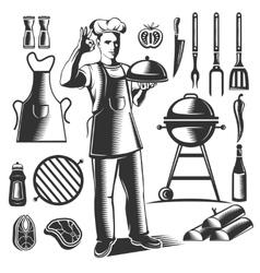 Vintage BBQ Element Set vector image