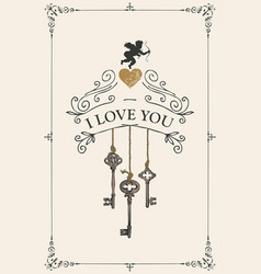 vintage valentine card with keys heart and cupid vector image
