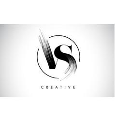 vs brush stroke letter logo design black paint vector image