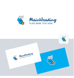 Water control logotype with business card vector