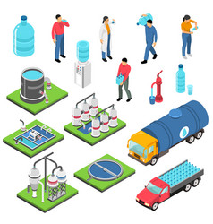 water purification isometric icons set vector image