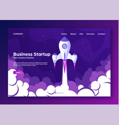 Website landing home page with rocket business vector