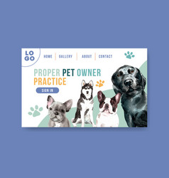 website template with dogs and food design vector image