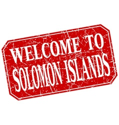 Welcome to Solomon Islands red square grunge stamp vector