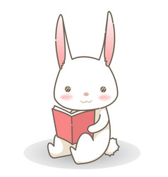 White rabbit is reading a pink book cartoon vector