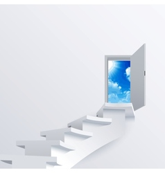 White way path to a door on background vector image