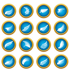 wing icons blue circle set vector image