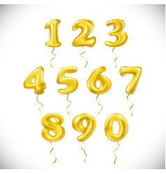 Yellow number 1 2 3 4 5 6 7 8 9 0 metallic vector