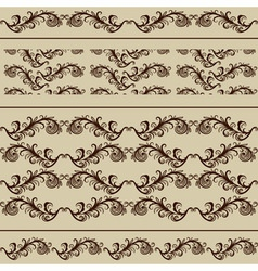 2 Vintage Borders and 2 Seamless Patterns vector image vector image