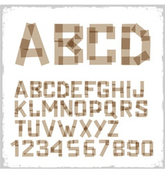 Alphabet letters and numbers made from adhesive vector image vector image