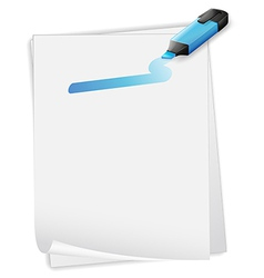 An empty paper with a blue marker vector image vector image