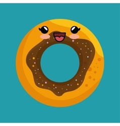 cute kawaii donut sweet desert icon vector image vector image