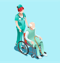 female nurse and patient in wheelchair isometric vector image