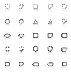 Label line icons with reflect on white background vector image