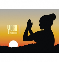 silhouette of a woman meditating vector image