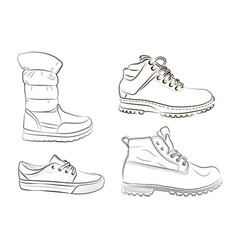 sketch of mens and womens shoes vector image vector image