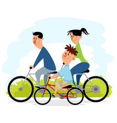 family outing on bicycles vector image