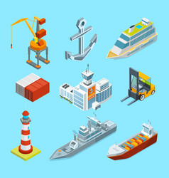 ships boats and seaport terminal cargo vector image