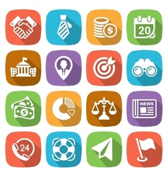 Trendy flat business and finance icon set 2 vector image