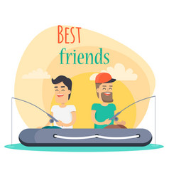 best friends go fishing together vector image