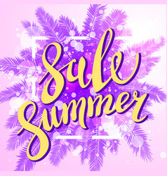 Sunset on the beach summer sale violet background vector
