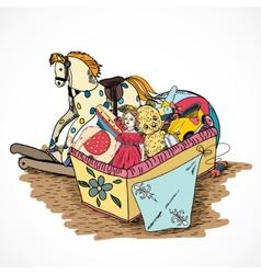 Toys sketch box vector image