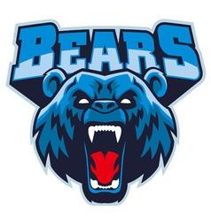 angry bear head mascot vector image vector image