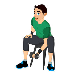 exercising man lifting dumbells vector image