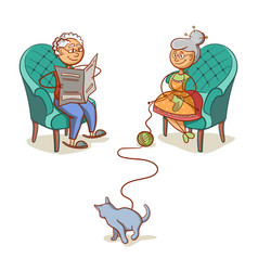 Grandfather grandmother and cat vector