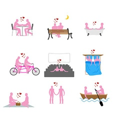 LGBT silhouettes set Pink people in movie theater vector image
