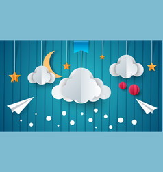 paper airplane cloud moon star vector image
