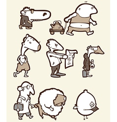 Set of the Funny Creatures vector image vector image