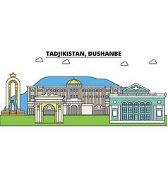 tadjikistan dushanbe outline city skyline linear vector image vector image