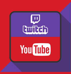 twitch and youtube logo with background ima vector image vector image