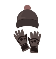 Winter hat and gloves on white background vector image vector image