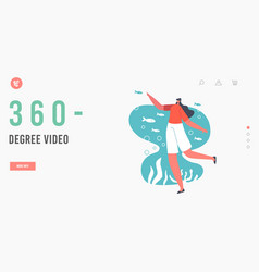 360 degree video landing page template character vector