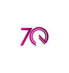 70 years anniversary celebration purple line vector