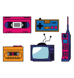 80s technology devices vector image