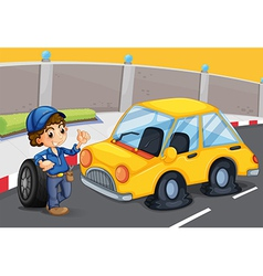 A boy standing in front of a car with a flat tire vector