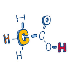 acetic acid icon hand drawn style vector image