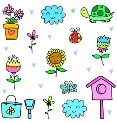 Art of spring items set doodles vector