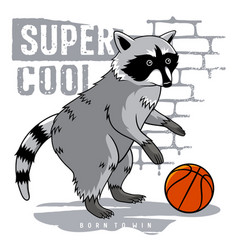 athletic raccoon 001 vector image