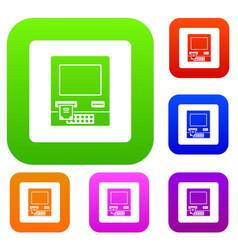 atm bank cash machine set color collection vector image